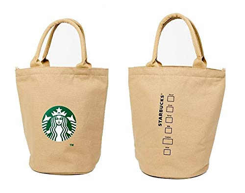 Starbucks New Logo Canvas Anywhere Tote Bag, Shopping Lunch Bag Limited Edition Authentic (Khaki) ()