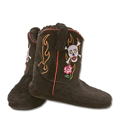 Amazon.com: Cowboy Kickers Skull and Roses Slippers for Women M: Shoes