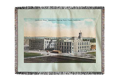- Lantern Press Fresno, California - CA Raisin Association Packing Plant 11516 (60x80 Woven Chenille Yarn Blanket)