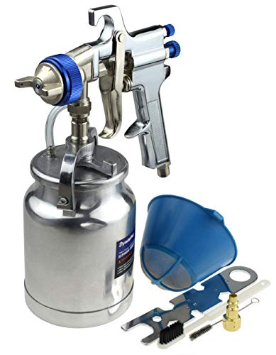 33 oz Siphon Feed Spray Gun - 2.5mm Nozzle for Spraying Oil-Based or Latex Paints, with Filtering and Cleaning Kits