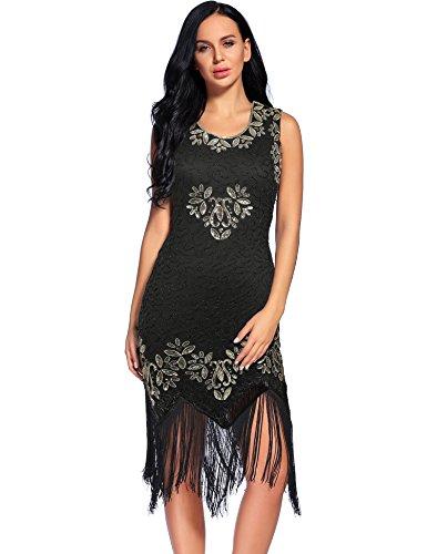 Flapper Girl Women Flapper Dresses 1920s Gatsby Tassel Embroidered Dress Plus Size (XXL, Black+Gold)
