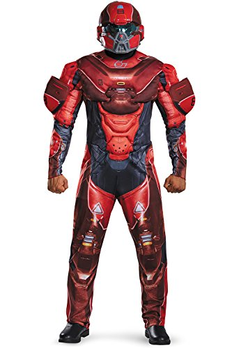 [Disguise Men's Halo Spartan Muscle Costume, Red, X-Large] (Red Jumpsuit Costume)