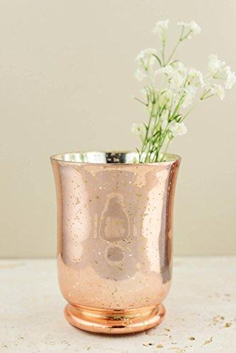 Blush Rose Gold Mercury Glass Vase & Candleholder - Glass Faux Making Mercury