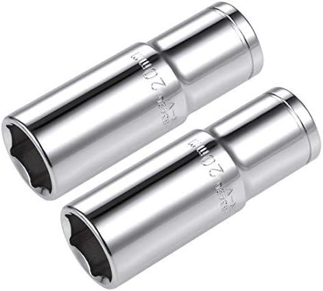 uxcell 6.35mmドライブ6ポイントディープソケットメトリックCr-Vスチール 2個 20mm