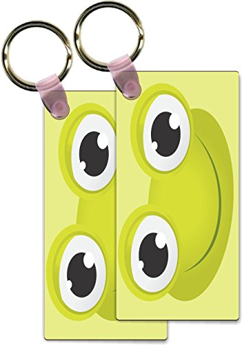 Rikki Knight Frog Cartoon Face Design Rectangle Shape Key Chains - Identifier Tags (Set of - Face Shape Rectangle