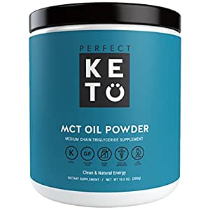 Perfect Keto MCT Oil Powder - Medium Chain Triglyceride (MCT) Oil Powder For Ketosis and Energy - Easier to Absorb and Digest, Made in USA (Unflavored)