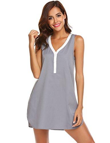 pehie Women's Nightgown V-Neck Cotton Nightshirt Henley Sleeveless Sleep Shrit,X-Large,9290-grey