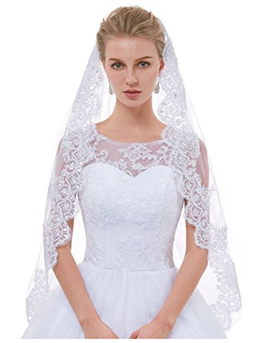 (AIBIYI 1 Tier / 2 Tier Lace Fingertip Veils for Brides with Comb ABY-V10)