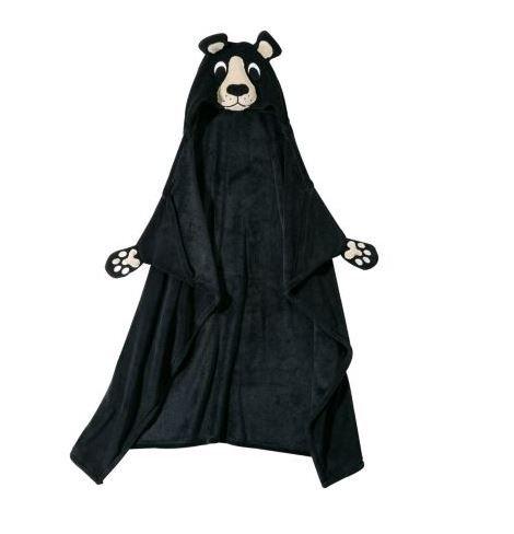 - Berkshire Blanket Cuddly Buddies Hooded Wrap Throw (Cuddly Buddy Black Bear)