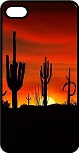 Arizona Desert Cactus Sunset Black Plastic Case for Apple iPhone 4 or iPhone 4s