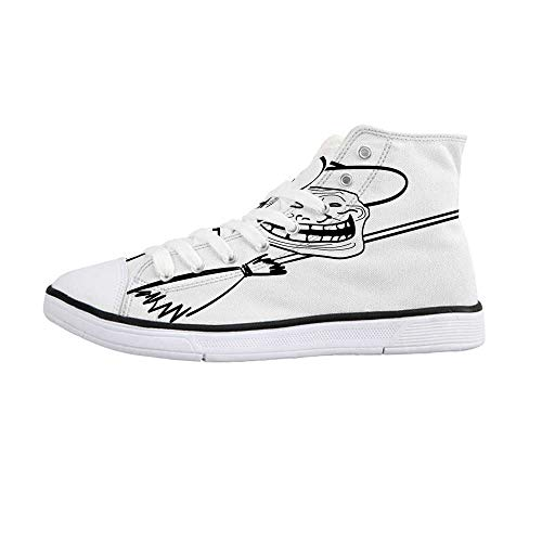 Humor Decor Comfortable High Top Canvas Shoes,Halloween Spirit Themed Witch Guy Meme LOL Joy Spooky Avatar Artful Image for Women Girls,US 7.5
