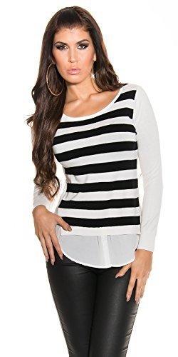 KouCla sudadera de jersey para mujer Jersey con capas de crepé blusa diseño de rayas 2en 1Look estilo rayas varios colores white - black