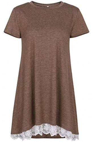Review She's Style Women's Cotton Short Sleeve Lace Scoop Neck A-Line Tunic Blouse Coffee Size M
