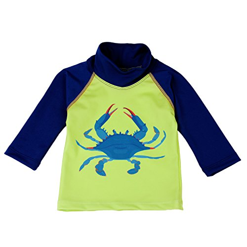(Nozone Sun Protective Swim Shirt for Baby Boys in Lime/Navy, Blue Crab, 6-12 Months)