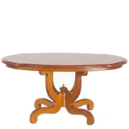 Dollhouse Pedestal - Melody Jane Dollhouse Walnut Oval Pedestal Dining Table Miniature Dining Room Furniture