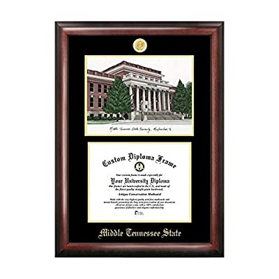 Campus Images Sports Team Logo Design Middle Tennessee State Gold Embossed Diploma Frame with Campus Images Lithograph