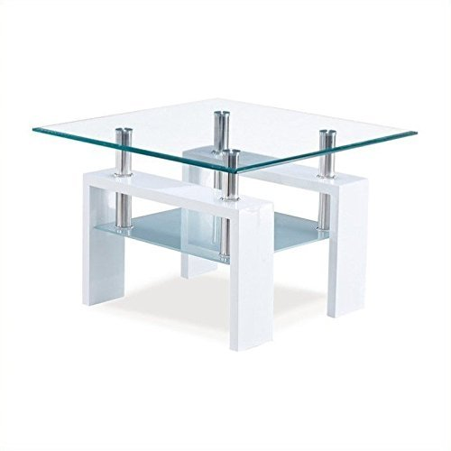 (Global Furniture Clear/Frosted Occasional End Table with Glossy White Legs)