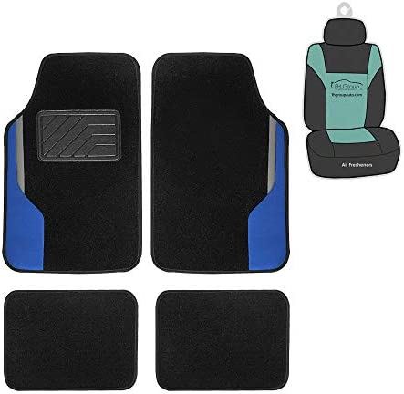 FH Group F14502 Color-Block Carpet Liners Non-Slip Car Floor Mats with Faux Leather Accents (Blue) Full Set with Gift – Universal Fit for Cars, Trucks & SUVs