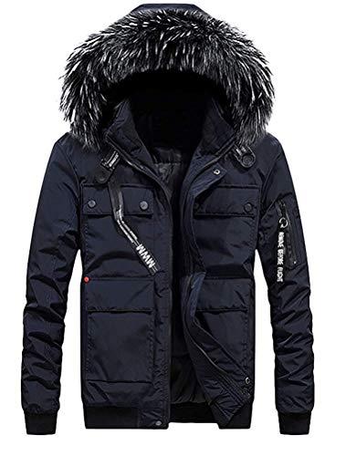 Lunghe Invernale A Cappuccio Fuxitoggo L Maniche Outdoor Cappotto Antivento colore Uomo Navy Navy Dimensione Da Cw0qcSzqx5