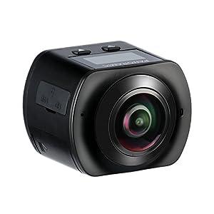 MixMart Caméra d'action 360°Panoramique Caméscope Sportive WiFi 4K 16M Ultra HD 30fps avec Objectif Fish-eye 220°Étanche Jusqu'à 30m