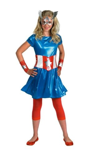 Girl Captain America Costume - Child/teen Costume - Junior (7-9)