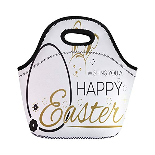 Semtomn Lunch Tote Bag Greeting Inscription the Easter Bunny and Eggs Wishing You Reusable Neoprene Insulated Thermal Outdoor Picnic Lunchbox for Men Women