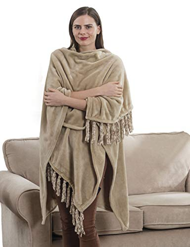 (Shop Bedding Fleece Wearable Throw Poncho - Beige Throw Blanket Fringed Wrap, Cape - Elegant and Comfortable Gifts for mom, Grandmother,)