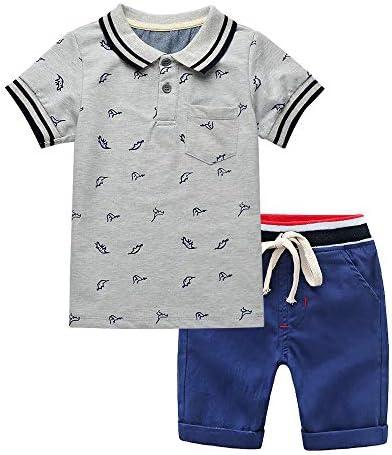 Yilaku Completi Estivi Ragazzo Bambini e Ragazzi Set di Vestiti Estivi Polo a Maniche Corte con Pantaloni Corti Elastici
