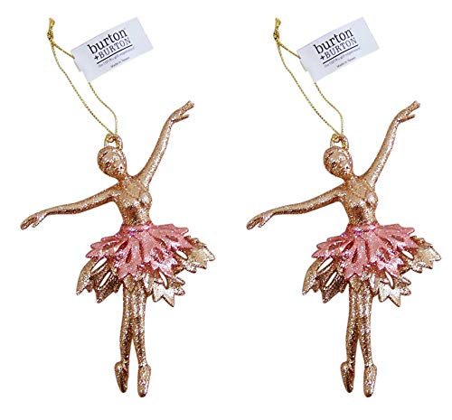 Christmas Ornament Pink and Gold Glittery Ballerina, 4 Inches, Set of 2