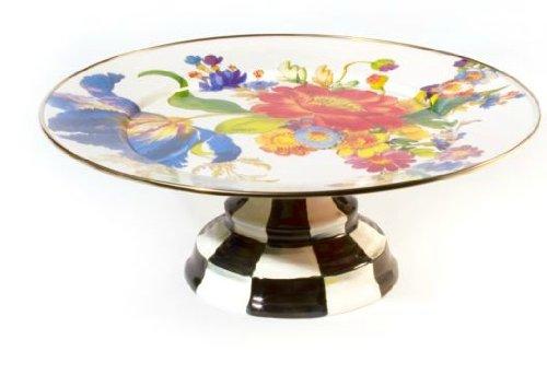 MacKenzie-Childs Flower Market Enamel Pedestal Platter - White 16'' dia., 6'' tall.