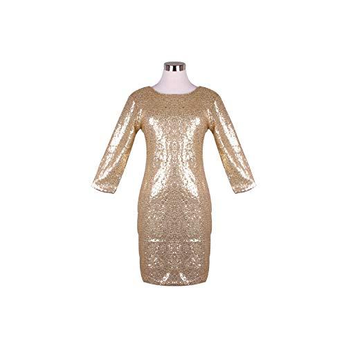 Dress O Neck Paillette Shiny Sequins Bodycon Slim Pencil Dresses,Gold,XL