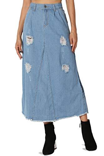 TheMogan Women's Vintage Distressed A-Line Denim Long Midi Skirt Medium L (Womens Denim Line)