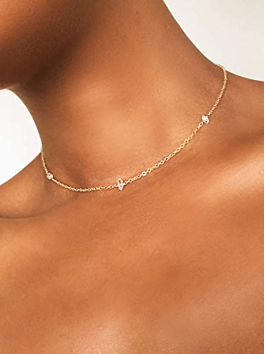Dainty Raw Herkimer Diamond Crystal Point Choker Necklace for Women 14k Gold Fill Chain 13
