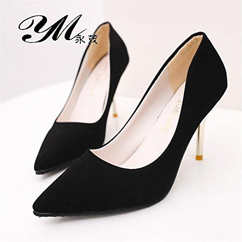 LIVY 2017 zapatos de primavera y verano con altas puntas de gamuza zapatos de tacones altos versión coreana Negro