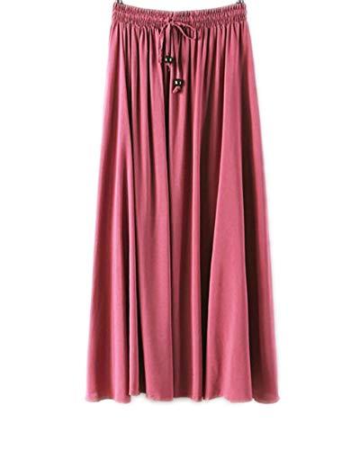 Femme Jupes Casual de Plage Maxi Caoutchouc Pink de Pliss Taille Jupe Haute Longue dqw6FT