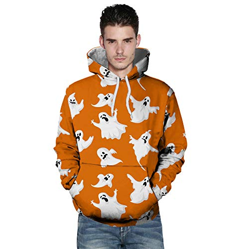 kaifongfu Long Sleeve Sweatshirt,Autumn Winter Mens Autumn Winter 3D Printing Hoodies Blouse(Orange A,XL)