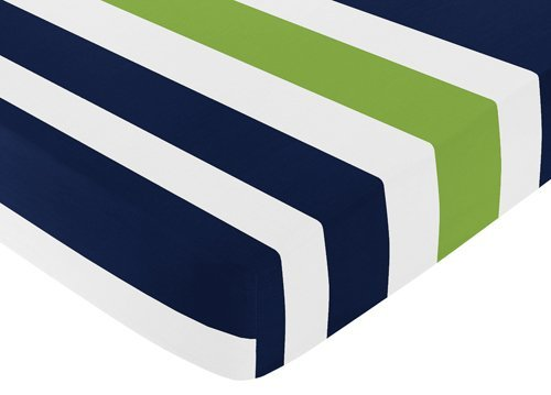Sweet Jojo Designs Green - Sweet Jojo Designs Fitted Crib Sheet for Navy Blue and Lime Green Baby/Toddler Bedding Set Collection - Stripe Print