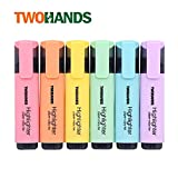 TWOHANDS Highlighter,Chisel Tip,6 Assorted Pastel Colors, for Adults & Kids,with Large Ink Reservoir for Extra Long Marking Performance