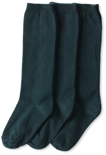 Jefferies Socks Little Girls'  School Uniform Knee High  (Pack of 3), Hunter, Small