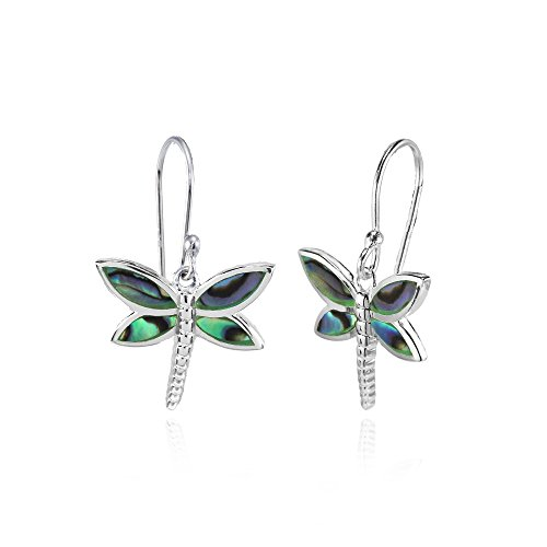 Sterling Silver Abalone Polished Dragonfly Dangle Earrings