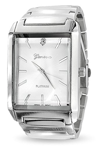 Bling Jewelry Classic Tank White Rectangle Dial Link Bracelet Wrist Watch for Men Silver Tone Stainless Steel Band Automatic (Dial Polished White)