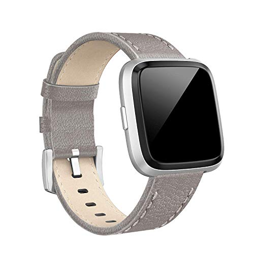 SWEES Compatible with Versa Bands Leather Small & Large, Genuine Leather Band with Stainless Steel Buckle Strap Replacement Wristband Compatible for Versa Women Men, Rose Gold, Black, Brown, Champagne
