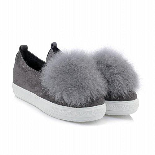 Latasa Dames Faux Haar Slip Op Loafers Schoenen Grijs