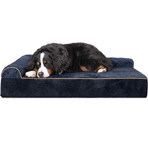 (Furhaven Pet Dog Bed | Deluxe Orthopedic Faux Fur & Suede L Shaped Corner Chaise Lounge Sofa-Style Living Room Couch Pet Bed for Dogs &)