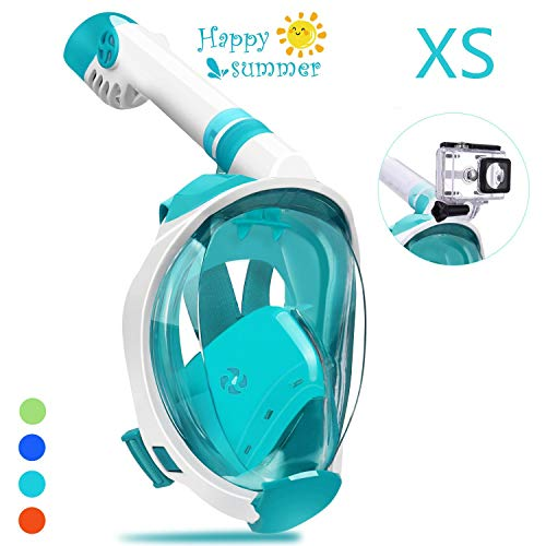 qingsong Full Face Snorkel Mask with Newest Breathing System, Give You A Natural & Safe Snorkeling Experience, Foldable 180 Degree Panoramic View Anti-Fog Anti-Leak Snorkel Set for Adults & Kids (Snorkeling Masks For Kids)