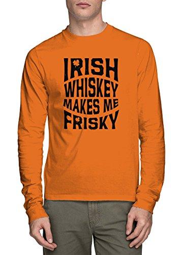 Long Sleeve Men's Irish Whiskey Makes Me Frisky Shirt (Orange, Medium) ()