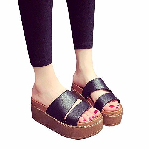 Antidérapant D'Été Chaussures YUCH Formes de Plates black Plage Chaussons Femmes Occasionnels at10I