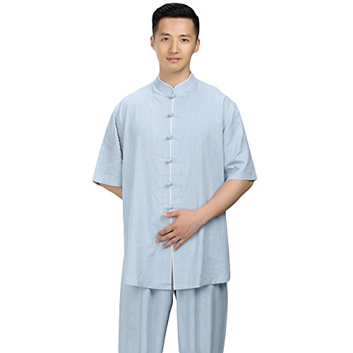 ZooBoo Men's Summer Cotton Linen Tai Chi Suits Short Sleeve Martial Arts Suits Morning Exercises (Blue Gray, XXL)