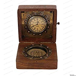Authentic Clock Compass in Rose Wood Box, Vintage Gift...