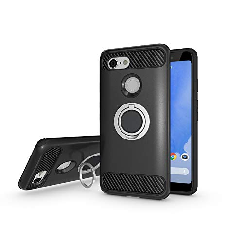 Newseego Compatible Google Pixel 3 Case, Armor Dual Layer 2 in 1 and Finger Ring Holder Kickstand Fit Magnetic Car Mount for Google Pixel 3-Black